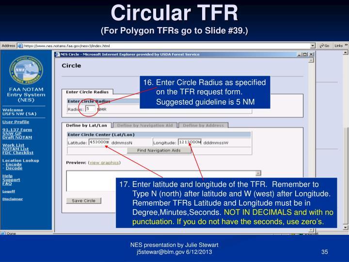 Circular TFR