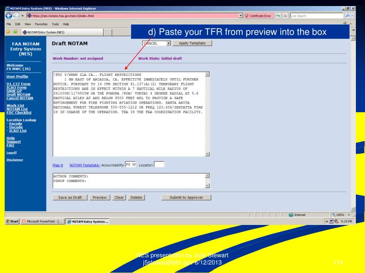 d) Paste your TFR from preview into the box