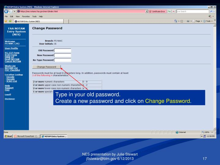 Type in your old password.
