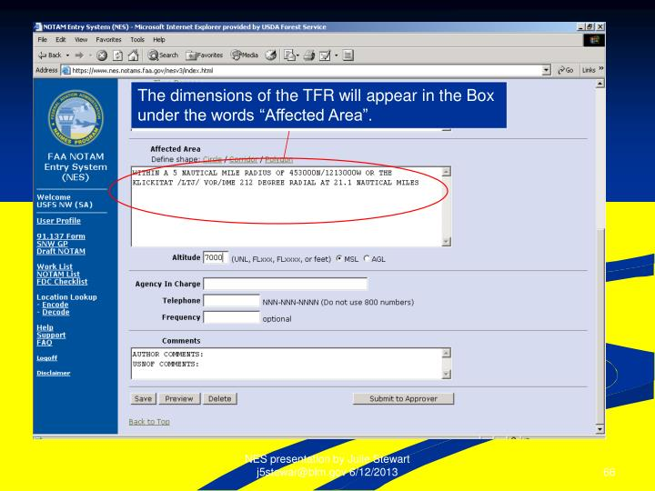 The dimensions of the TFR will appear in the Box