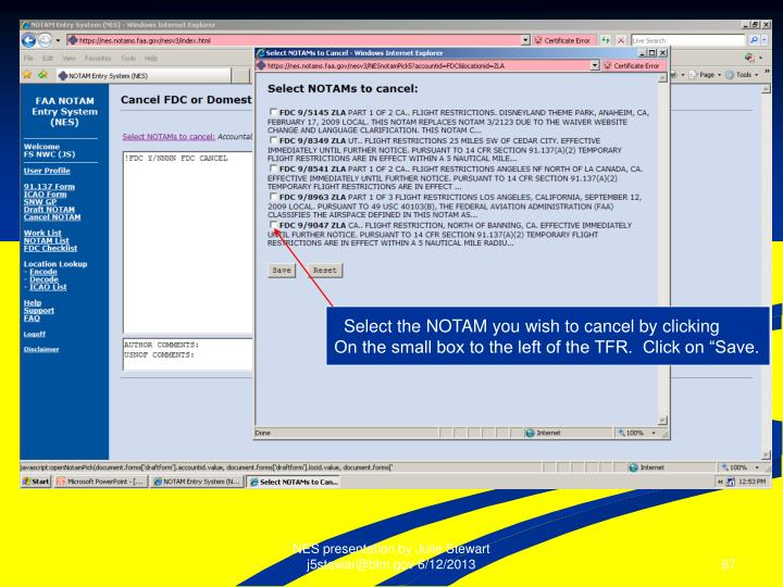 Select the NOTAM you wish to cancel by clicking