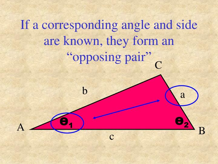 """If a corresponding angle and side are known, they form an """"opposing pair"""""""