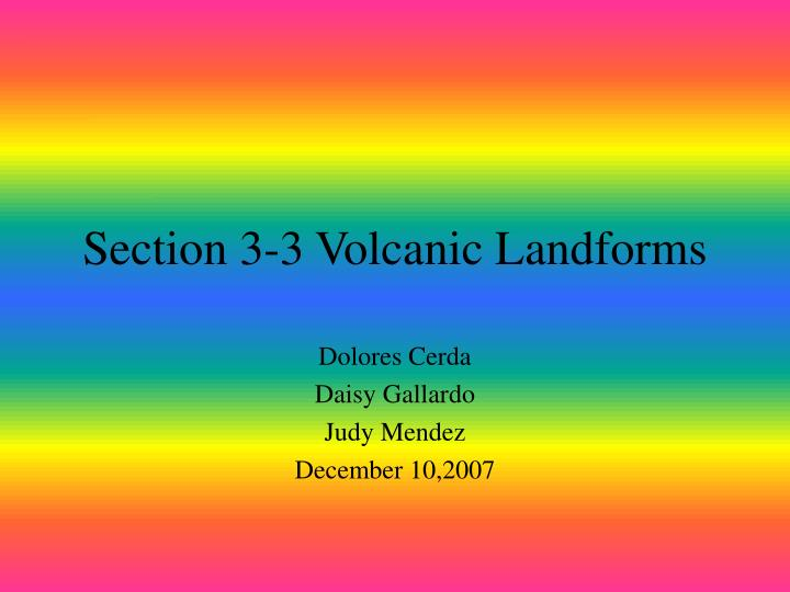 Section 3 3 volcanic landforms
