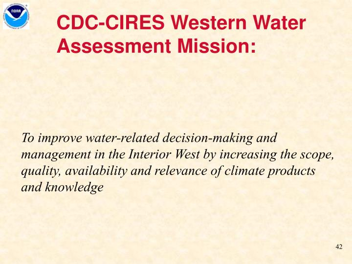 CDC-CIRES Western Water Assessment Mission: