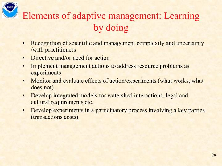 Elements of adaptive management: Learning by doing