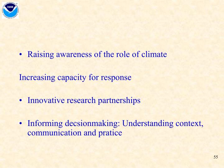 Raising awareness of the role of climate