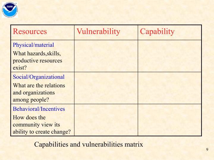 Capabilities and vulnerabilities matrix