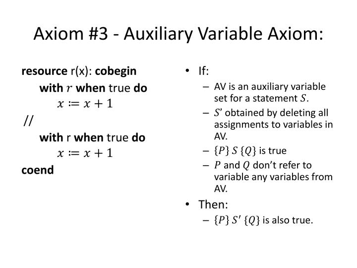 Axiom #3 - Auxiliary Variable Axiom: