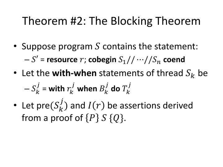 Theorem #2: The Blocking Theorem