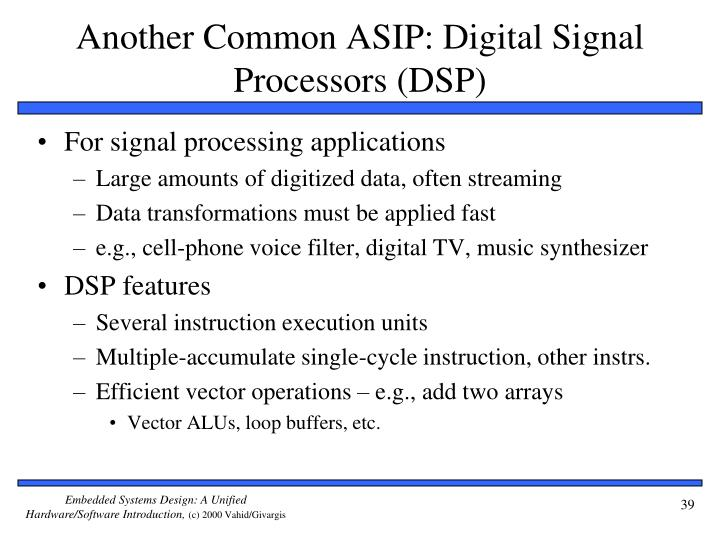 Another Common ASIP: Digital Signal Processors (DSP)