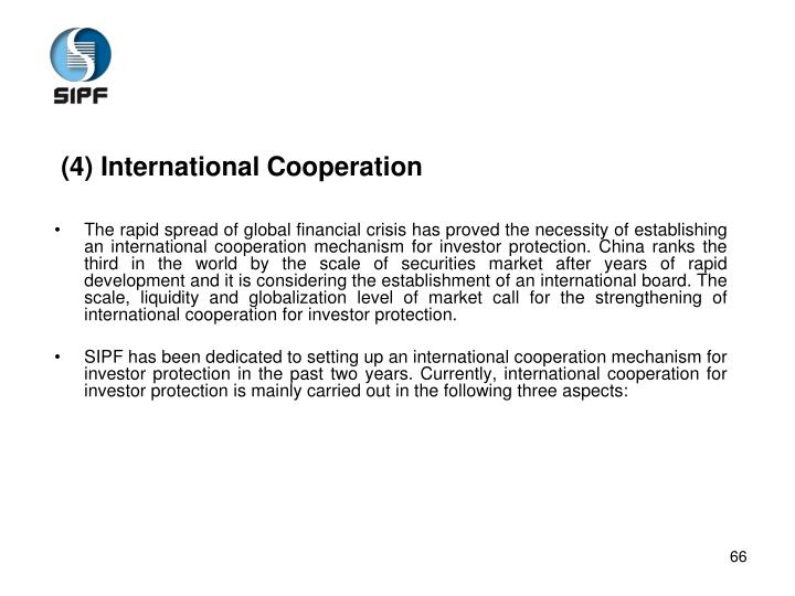 (4) International Cooperation