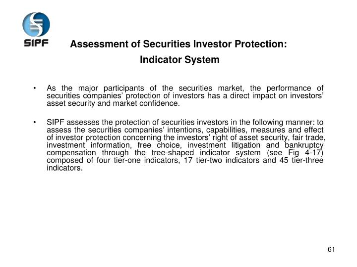 Assessment of Securities Investor Protection: