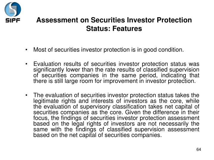 Assessment on Securities Investor Protection