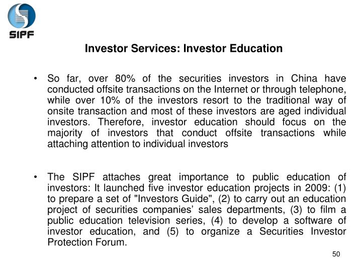 Investor Services: Investor Education
