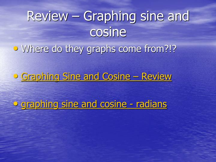 Review – Graphing sine and cosine