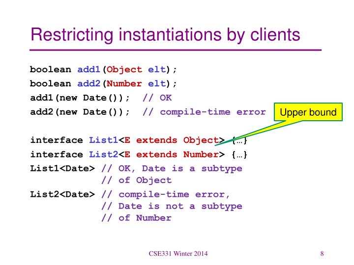 Restricting instantiations by clients