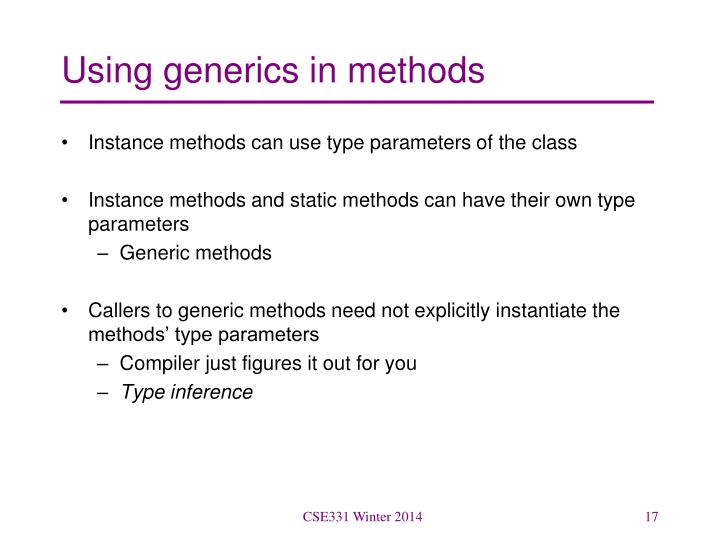 Using generics in methods