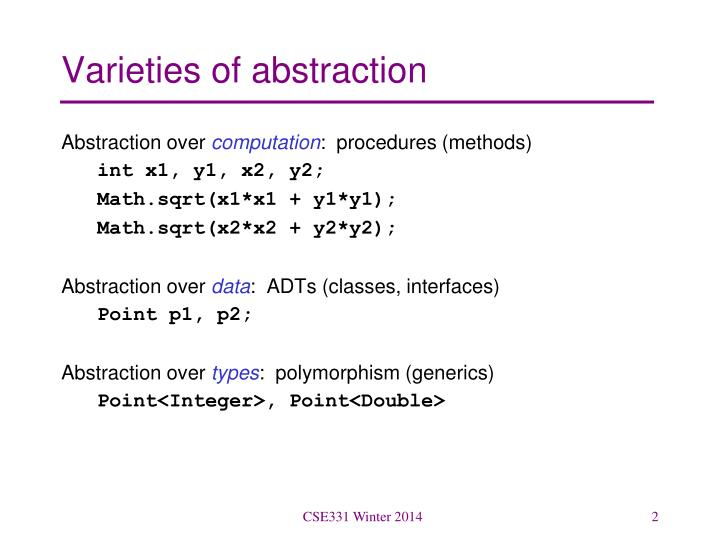 Varieties of abstraction