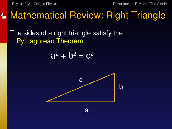 Mathematical Review: Right Triangle