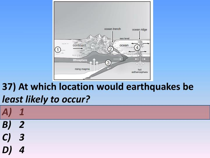 37) At which location would earthquakes be