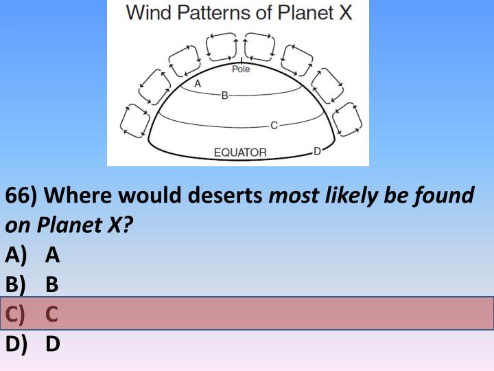 66) Where would deserts