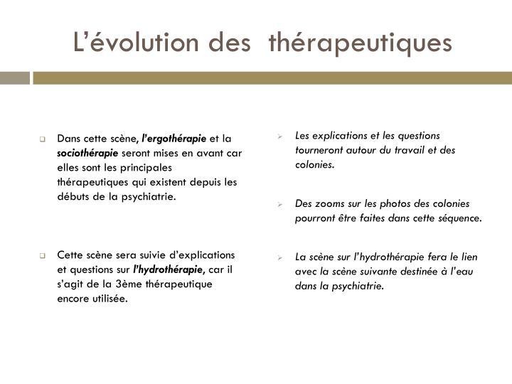 L'évolution des  thérapeutiques