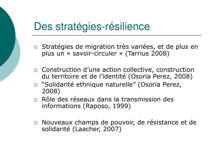 Des stratégies-résilience