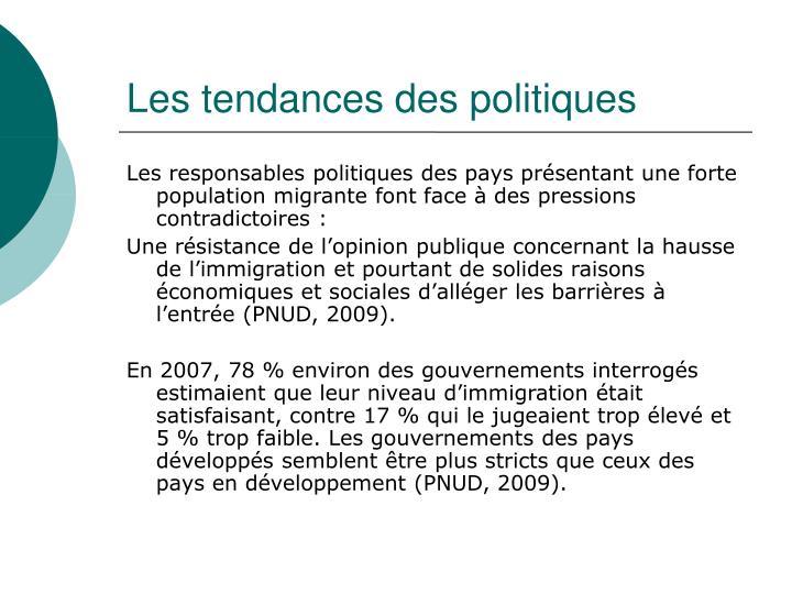 Les tendances des politiques