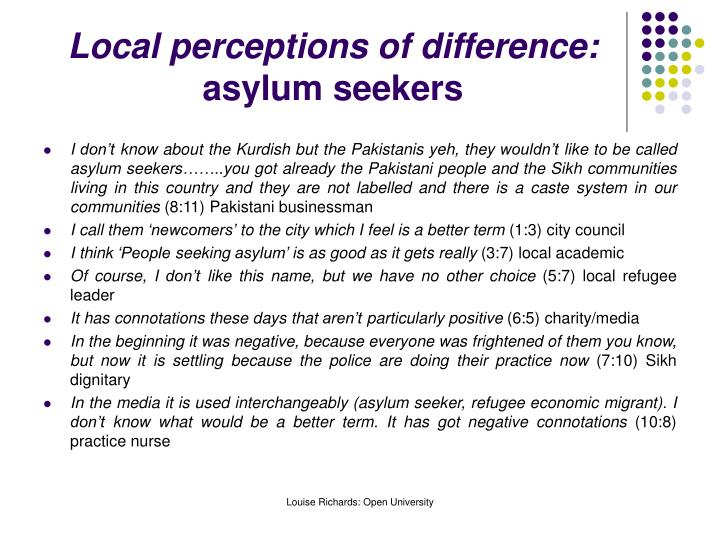 Local perceptions of difference: