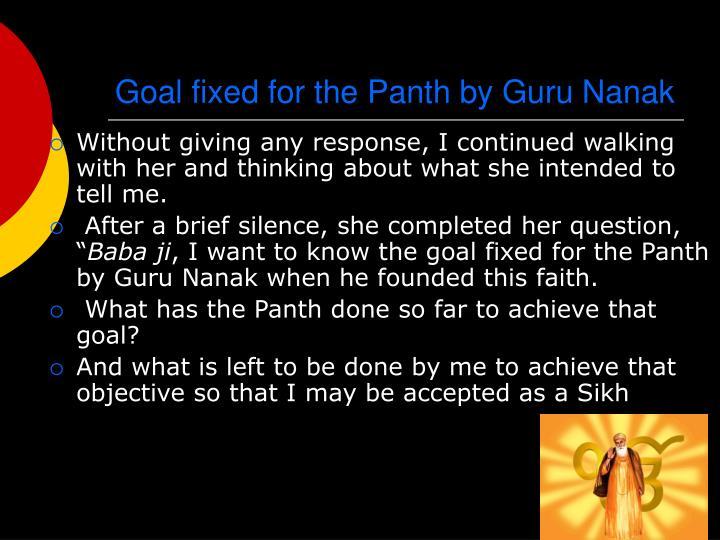 Goal fixed for the Panth by Guru Nanak
