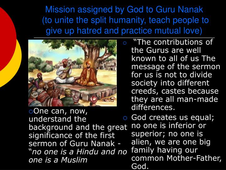 Mission assigned by God to Guru Nanak