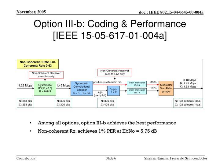Option III-b: Coding & Performance