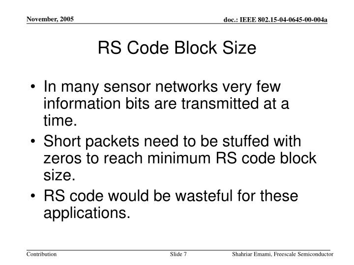 RS Code Block Size