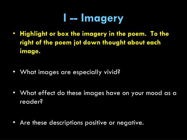 I -- Imagery