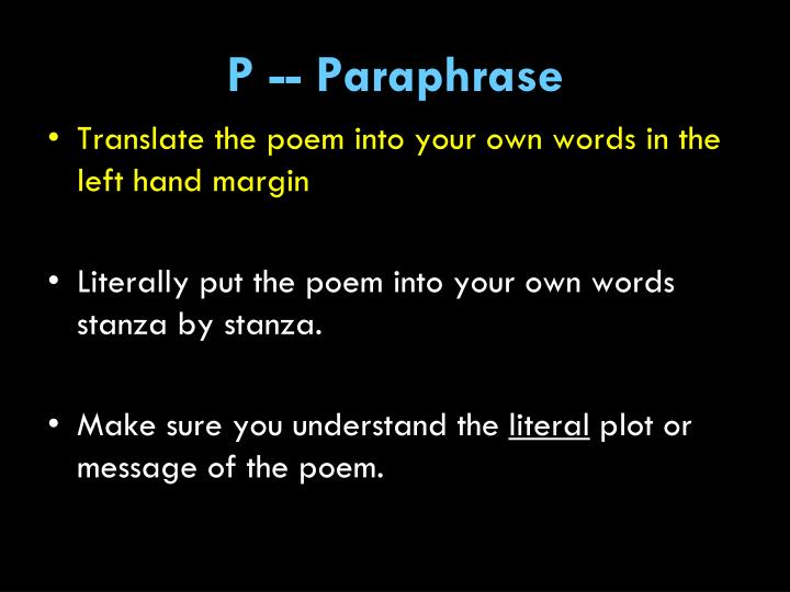 P -- Paraphrase