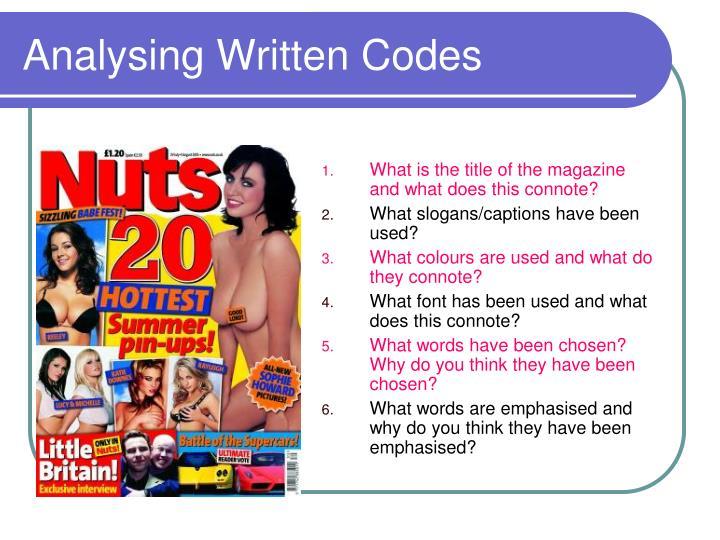 Analysing Written Codes