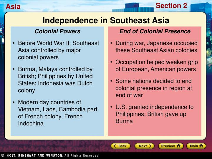 End of Colonial Presence