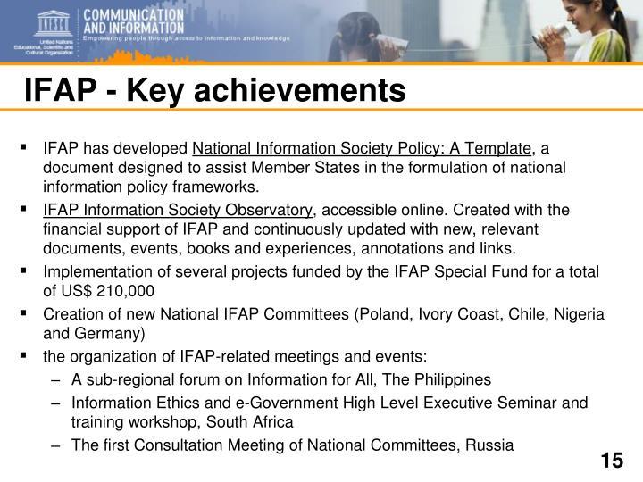 IFAP - Key achievements
