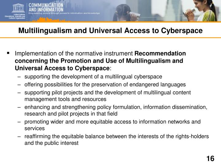 Multilingualism and Universal Access to Cyberspace