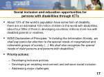 social inclusion and education opportunities for persons with disabilities through icts