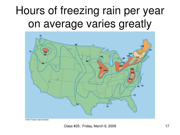 Hours of freezing rain per year on average varies greatly