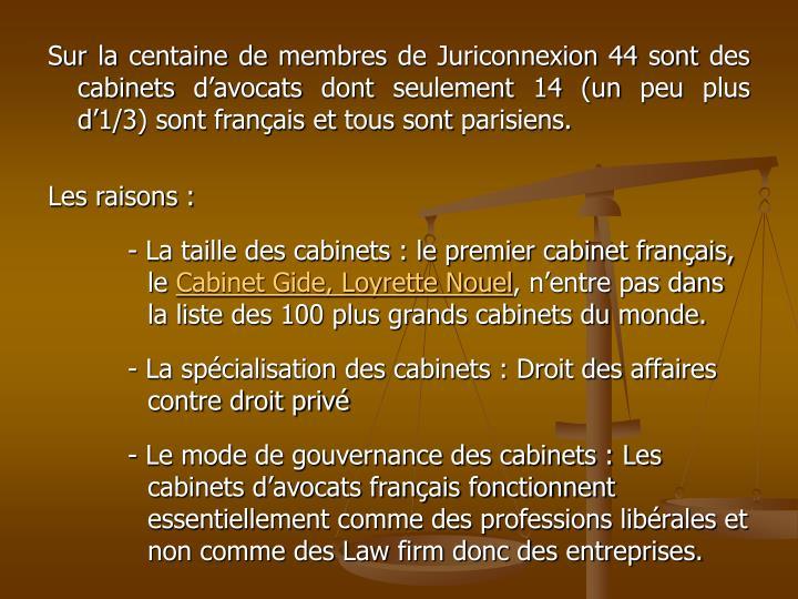 Sur la centaine de membres de Juriconnexion 44 sont des cabinets d'avocats dont seulement 14 (un peu plus d'1/3) sont français et tous sont parisiens.