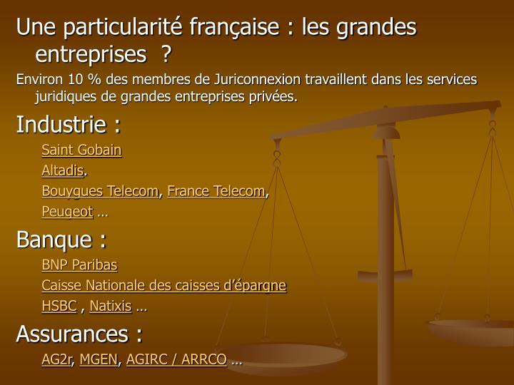 Une particularité française : les grandes entreprises  ?