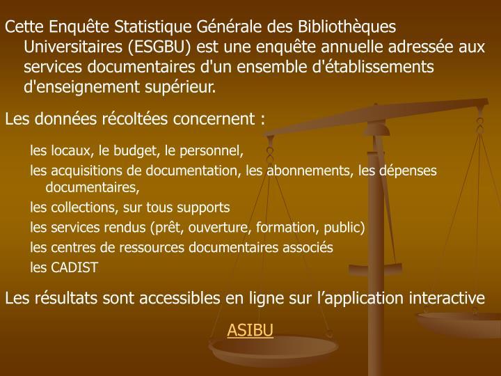 Cette Enquête Statistique Générale des Bibliothèques Universitaires (ESGBU) est une enquête annuelle adressée aux services documentaires d'un ensemble d'établissements d'enseignement supérieur.