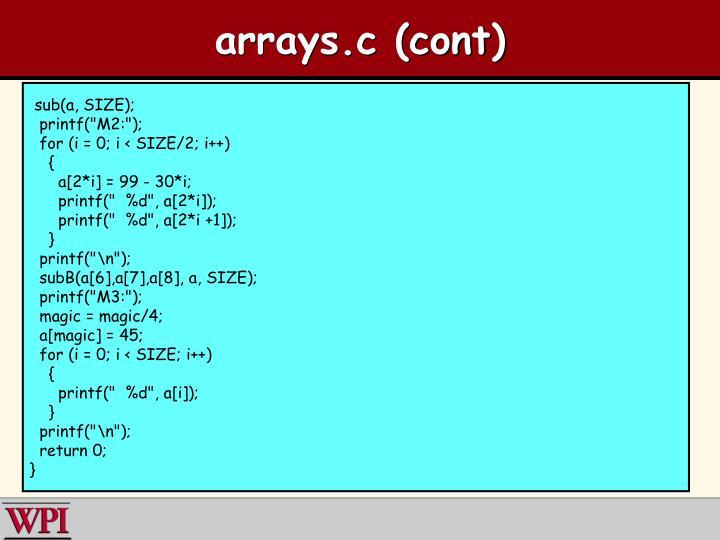 arrays.c (cont)