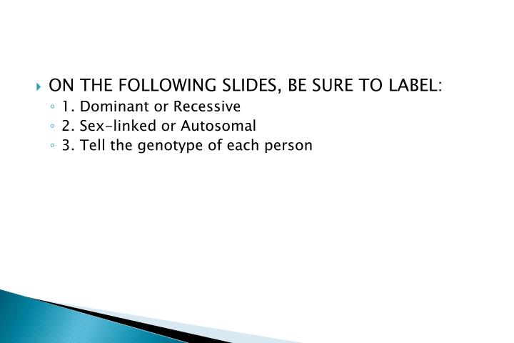 ON THE FOLLOWING SLIDES, BE SURE TO LABEL: