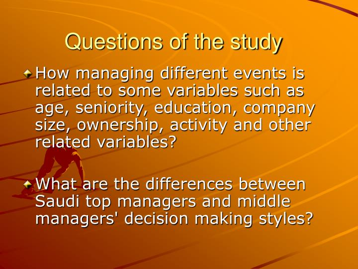 Questions of the study