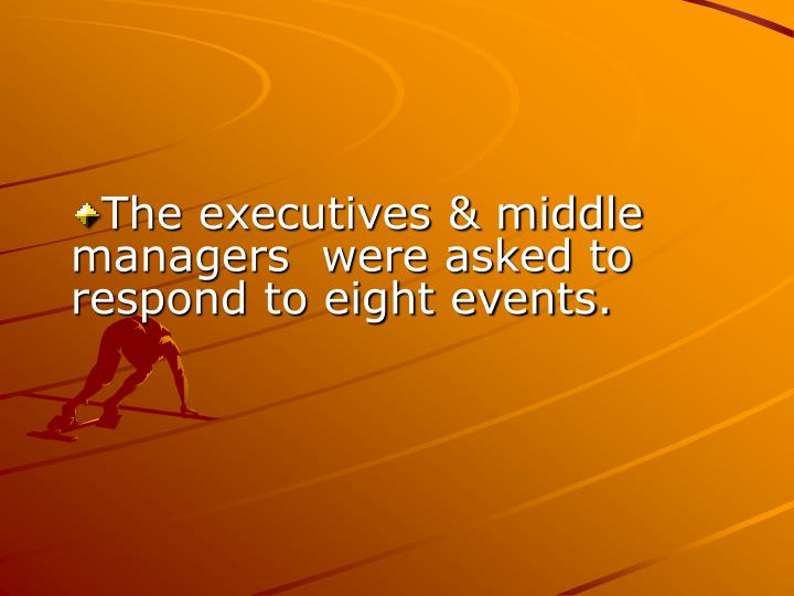 The executives & middle managers  were asked to respond to eight events.