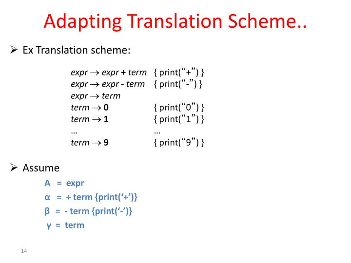 Adapting Translation Scheme..
