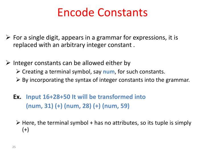 Encode Constants